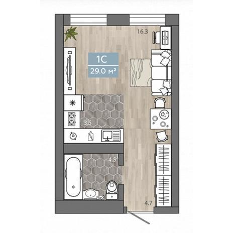 Вариант №4537, 1-комнатная квартира в жилом комплексе Акварельный 3.0