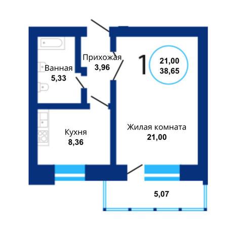 Вариант №3816, 1-комнатная квартира в жилом комплексе Крымский