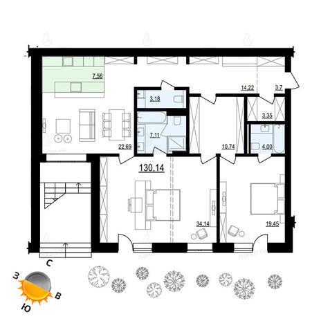 Вариант №886, 3-комнатная квартира в жилом комплексе Жуковка