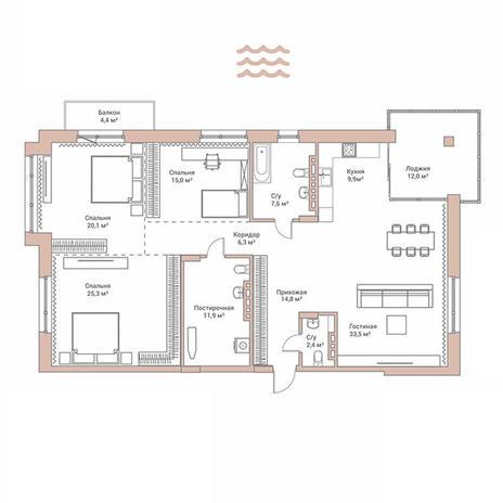 Вариант №3484, 4-комнатная квартира в жилом комплексе