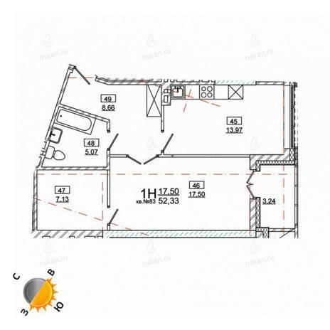 Вариант №975, 2-комнатная квартира в жилом комплексе Римский квартал
