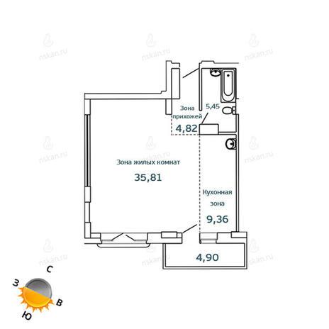 Вариант №1074, 1-комнатная квартира в жилом комплексе Тайм (Time)