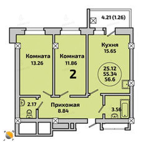 Вариант №2004, 3-комнатная квартира в жилом комплексе Родники