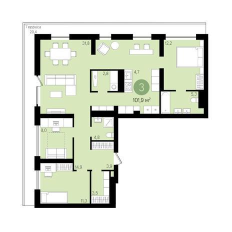 Вариант №3629, 4-комнатная квартира в жилом комплексе На Декабристов