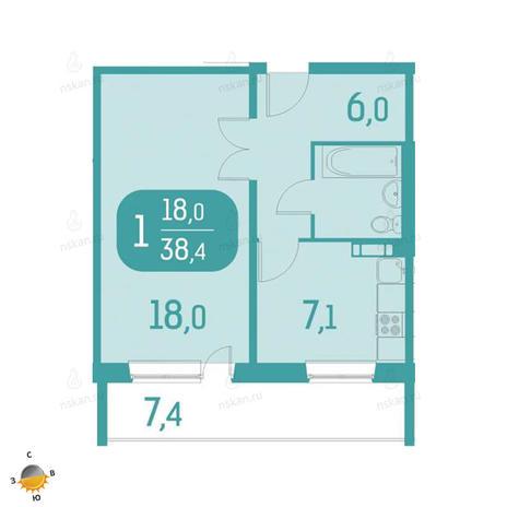 Вариант №2331, 1-комнатная квартира в жилом комплексе Аквамарин