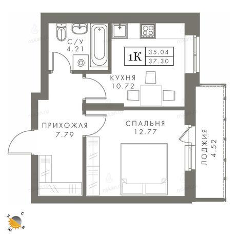 Вариант №2452, 1-комнатная квартира в жилом комплексе