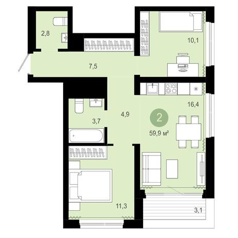 Вариант №4064, 3-комнатная квартира в жилом комплексе Европейский Берег