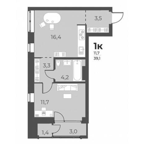 Вариант №5805, 2-комнатная квартира в жилом комплексе