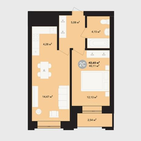 Вариант №5225, 2-комнатная квартира в жилом комплексе