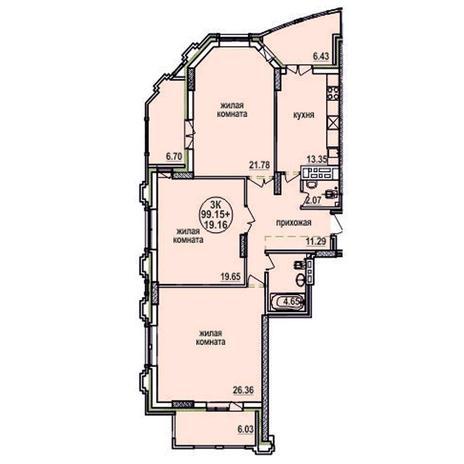 Вариант №616, 4-комнатная квартира в жилом комплексе Заельцовский