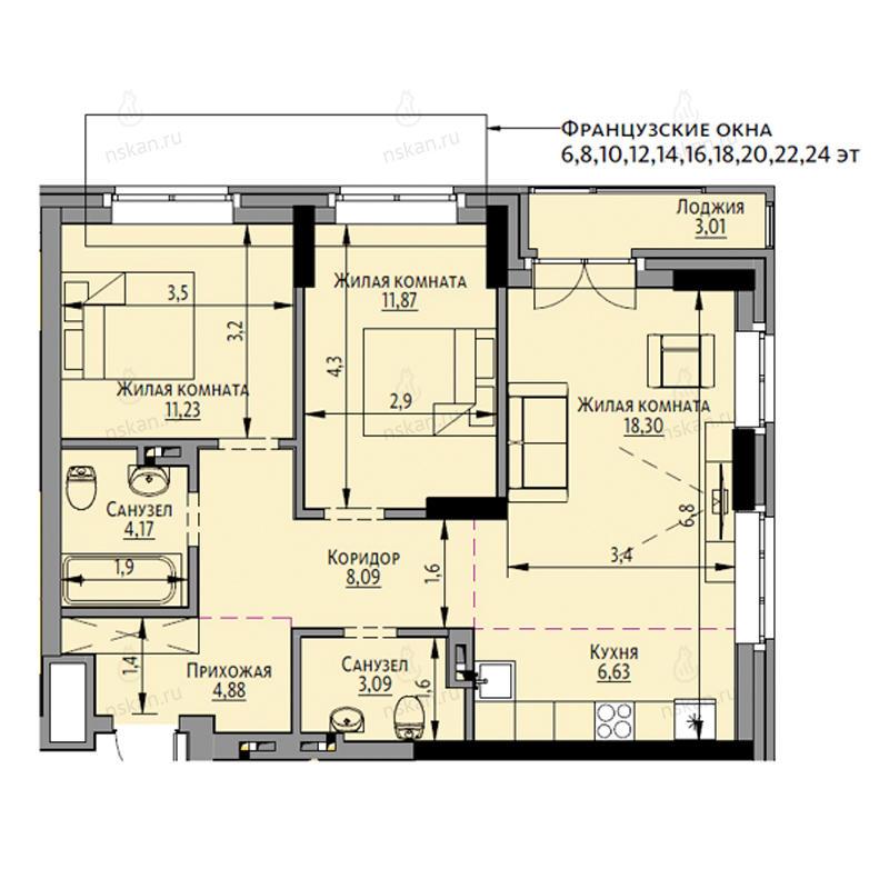 Планировка 3-комн. студия площадью 69.77 м<sup>2</sup> в ЖК Академия