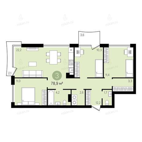 Вариант №2376, 4-комнатная квартира в жилом комплексе
