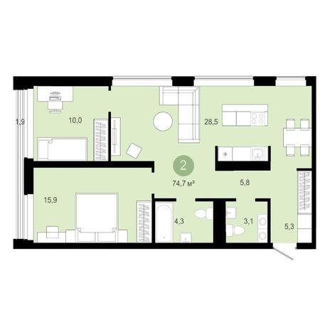 Вариант №4580, 3-комнатная квартира в жилом комплексе