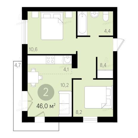 Вариант №2652, 2-комнатная квартира в жилом комплексе Дунаевский