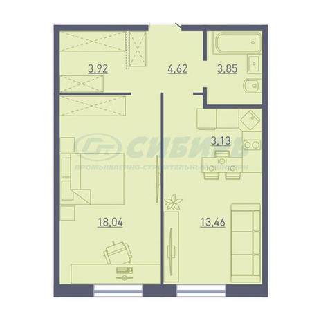 Вариант №3728, 2-комнатная квартира в жилом комплексе