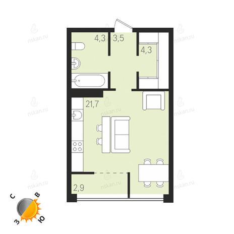 Вариант №1291, 1-комнатная квартира в жилом комплексе