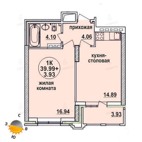 Вариант №1328, 2-комнатная квартира в жилом комплексе Заельцовский