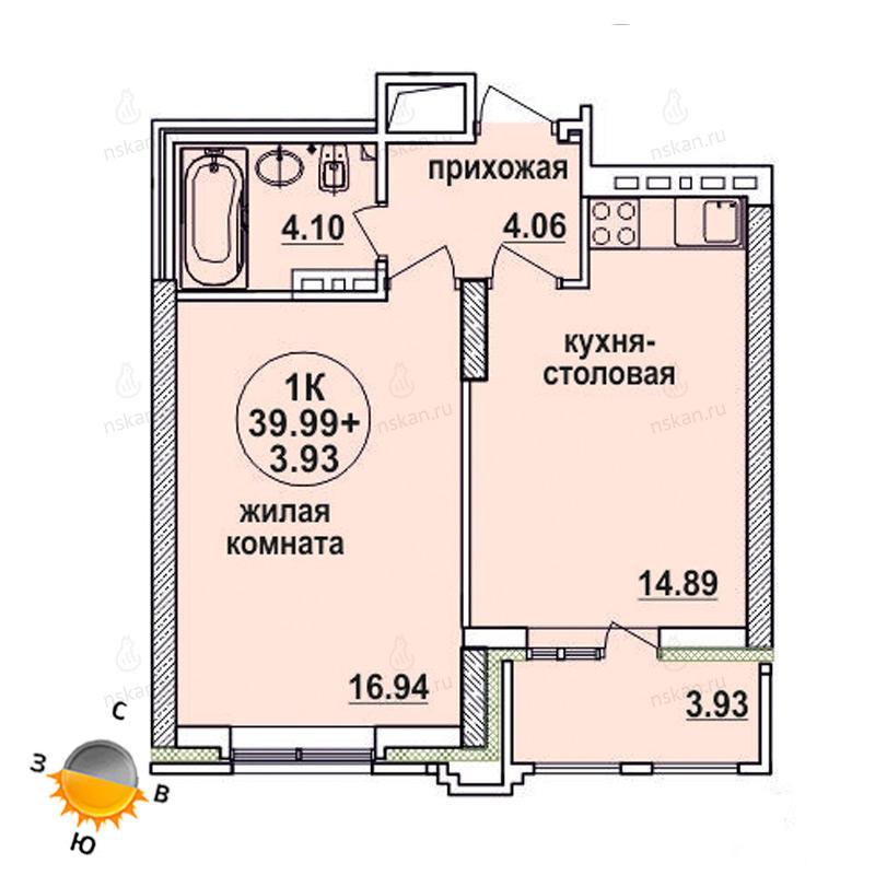 Планировка 2-комн. студия площадью 39.99 м<sup>2</sup> в ЖК Заельцовский