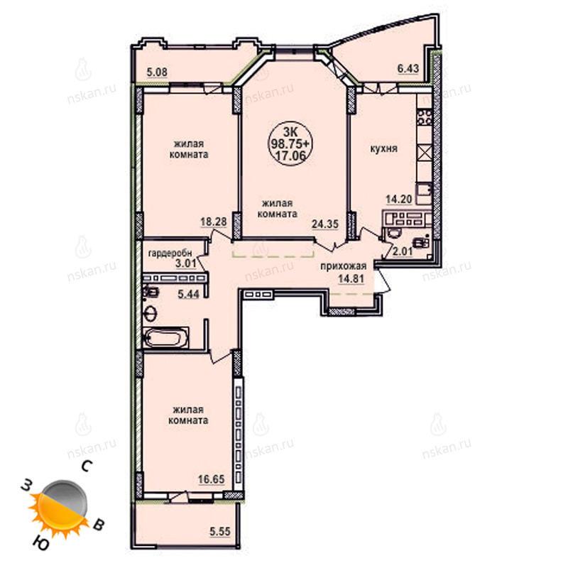 Планировка 3-комнатная площадью 98.75 м<sup>2</sup> в ЖК Заельцовский