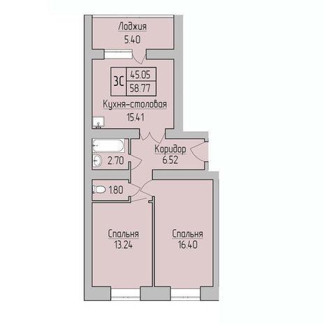 Вариант №3778, 1-комнатная квартира в жилом комплексе Дивногорский