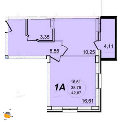 Вариант №1392, 1-комнатная квартира в жилом комплексе РэдФокс