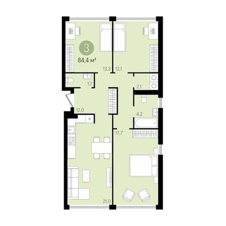 Вариант №2998, 4-комнатная квартира в жилом комплексе Европейский Берег