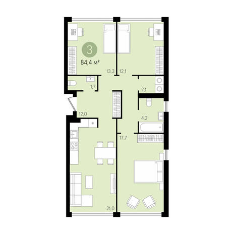 Вариант №2998, 4-комнатная квартира в жилом комплексе