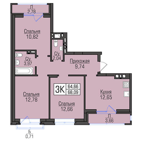 Вариант №2956, 3-комнатная квартира в жилом комплексе
