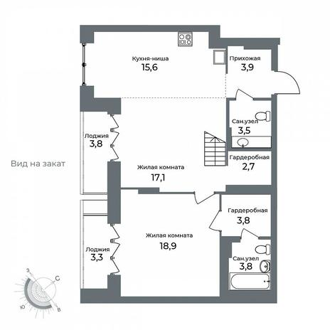 Вариант №5616, 3-комнатная квартира в жилом комплексе Спектр