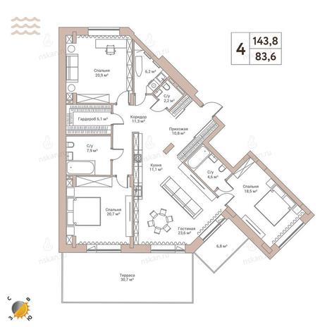 Вариант №2429, 4-комнатная квартира в жилом комплексе Flora & Fauna