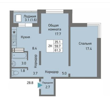 Вариант №4498, 2-комнатная квартира в жилом комплексе Акварельный 3.0