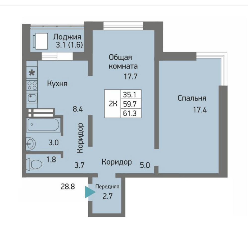 Планировка 2-комнатная площадью 61.3 м<sup>2</sup> в ЖК Акварельный 3.0