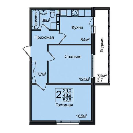 Вариант №3093, 2-комнатная квартира в жилом комплексе
