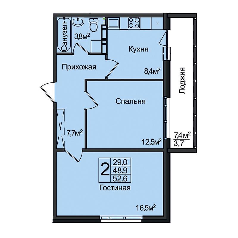 Планировка 2-комнатная площадью 52.6 м<sup>2</sup> в ЖК Венеция