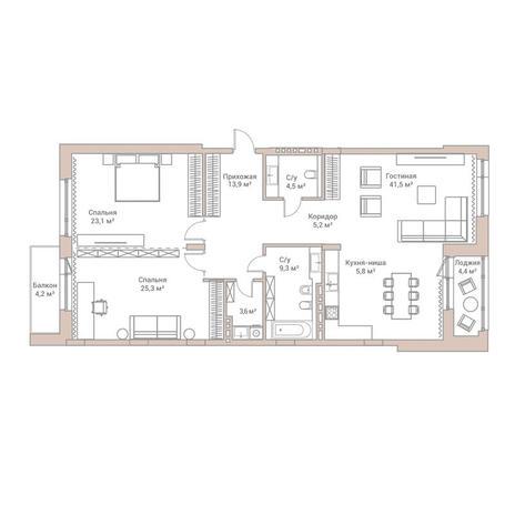 Вариант №3568, 3-комнатная квартира в жилом комплексе