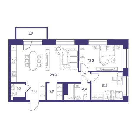 Вариант №5303, 3-комнатная квартира в жилом комплексе Пшеница