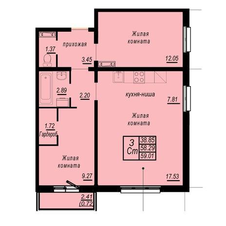 Вариант №4943, 3-комнатная квартира в жилом комплексе Ясный берег