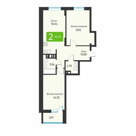 Вариант №5879, 2-комнатная квартира в жилом комплексе