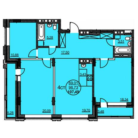 Вариант №3776, 4-комнатная квартира в жилом комплексе Статус