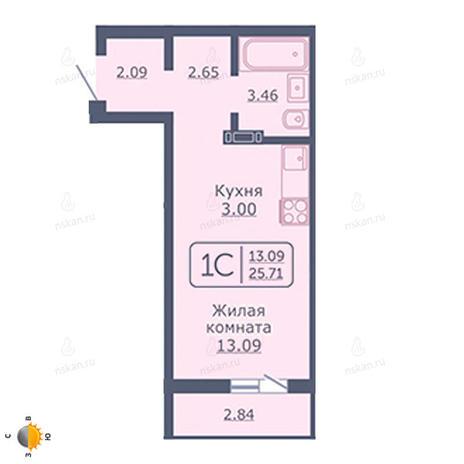 Вариант №2046, 1-комнатная квартира в жилом комплексе