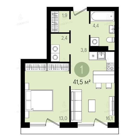 Вариант №2607, 2-комнатная квартира в жилом комплексе На Королева