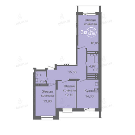 Вариант №2417, 3-комнатная квартира в жилом комплексе