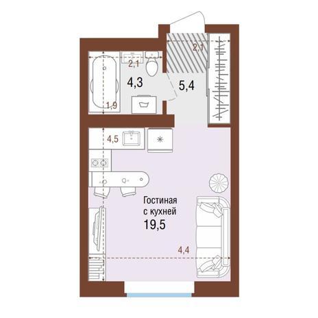 Вариант №4213, 1-комнатная квартира в жилом комплексе Акварельный 3.0