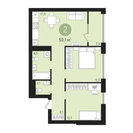 Вариант №3012, 3-комнатная квартира в жилом комплексе На Декабристов