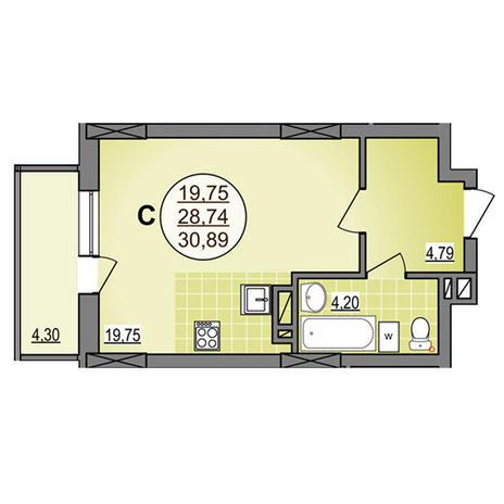 Вариант №3886, 1-комнатная квартира в жилом комплексе Гурьевский
