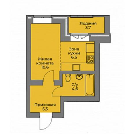 Вариант №4408, 1-комнатная квартира в жилом комплексе Эскимо