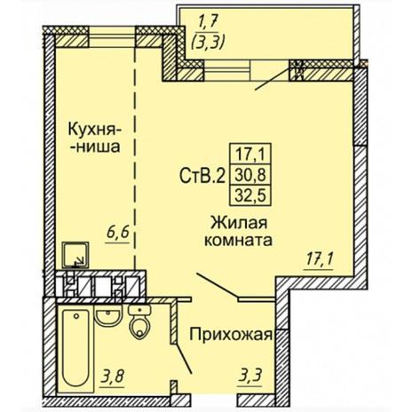 Вариант №4971, 1-комнатная квартира в жилом комплексе