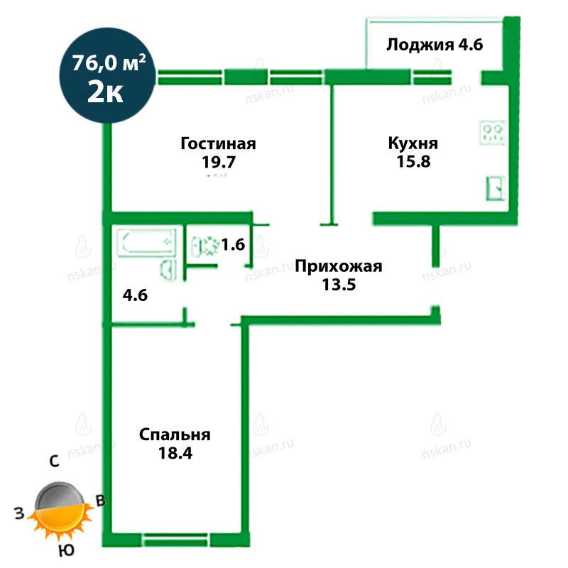 Планировка 2-комнатная площадью 76 м<sup>2</sup> в ЖК Театральный