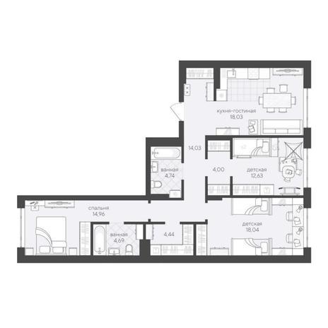 Вариант №6216, 4-комнатная квартира в жилом комплексе