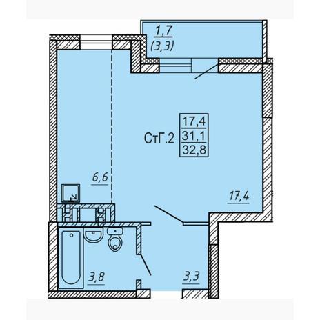 Вариант №4547, 1-комнатная квартира в жилом комплексе Новые Матрешки
